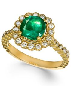 Emerald Envy by EFFY Emerald (1-1/4 ct. t.w.) and Diamond (1/2 ct. t.w.) Ring in 14k Gold