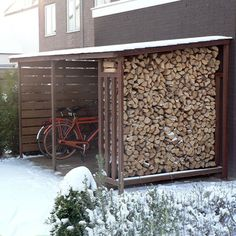 Wood Storage cover hardwood slates for bicycles and firewood Firewood Storage, Bike Storage, Shed Storage, Wood Store, Bike Shed, Backyard Sheds, Garden Sheds, Wood Shed, Pergola With Roof