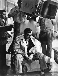 Stanley Kubrick works out a scene for filming on the set of Killer's Kiss(1955)
