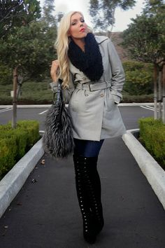 OOTD The Haute Blonde- Fashion & Beauty Blog: Fall Fashion: Trench Coat and Thigh-High Boots