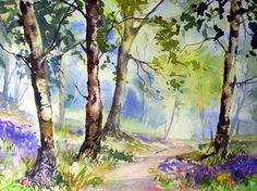 Step by Step Bluebell Wood in watercolours