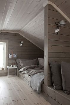 Not sure we really want built in bunks, but we could create the same feel with a curtain or shelf dividing sleep spaces
