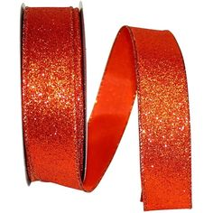 "1.5"" Glitter Lame Wired Edge Ribbon: Orange (25 Yards)"
