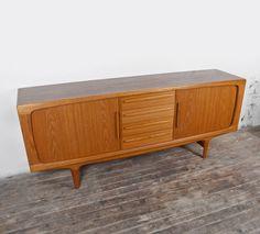 details zu 60er teak danish credenza 60s vintage sideboard highboard design midcentury. Black Bedroom Furniture Sets. Home Design Ideas