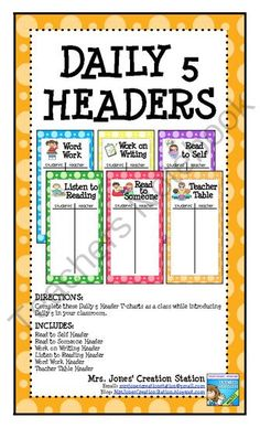 Daily 5 Anchor Charts FREEBIE from MrsJonesCreationStation on TeachersNotebook.com (12 pages)