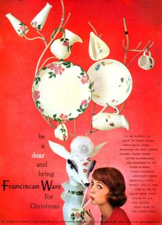 Franciscan Ware Desert Rose Autumn Pitchers Plates for Christmas 1957 Print Ad | eBay