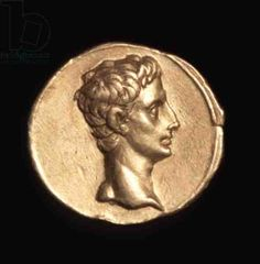 Obverse side of an aureus coin depicting Emperor Augustus, c. 18-16 BC (gold)