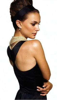 Natalie Portman wears the iconic black column dress worn by Audrey Hepburn in 1961′s Breakfast at Tiffany's - Harper's Bazaar 2006