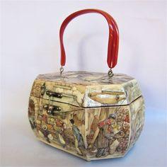 26d89b1e43b0 Vintage 1970s Anton Pieck Handbag Decoupage Victorian Village Scenes   70s  Novelty Print Octagonal Handbag Tortoiseshell