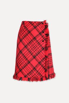 With its retro vibe, this plaid skirt is the perfect counterpoint to a simple top. This black and red skirt has an A-line cut, darts at the waist, fringed hem, and dome buttons engraved with a horse-drawn carriage. It has a zip fastening at the side. Composition : 77% WOOL 16% POLYAMID 7% POLYACRYLIC. Dryclean/Gentle. (White shown for fit.) Red Skirts, Plaid Skirts, A Line Skirts, A Line Cut, Skirts For Sale, Horse Drawn, Darts, Tweed, Composition