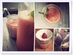 """""""Selbstgemachter Beerchentee"""" -  so gelingt Euch ein leckerer Smoothie aus Erdbeeren  und Früchtetee.#DIY #Smoothie #rot"""