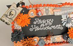 Halloween Decoration, Chalkboard Sign, Handmade Halloween Decor/ Spooky Owls - http://evilstyle.com/halloween-decoration-chalkboard-sign-handmade-halloween-decor-spooky-owls