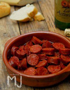 "Chorizos a la sidra / Spanish sausages ""chorizos"" with sidra"