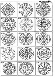 2146 patterns to crochet! - Make all these circles in thin white thread, then hang them up like snowflakes for Christmas Beautiful and more crochet pattern ~ make handmade - handmade - handicraft holy crap, tons of motif patterns crochet autumn spice mand Mandala Au Crochet, Crochet Motifs, Crochet Diagram, Crochet Chart, Crochet Squares, Diy Crochet, Crochet Doilies, Crochet Flowers, Crochet Stitches