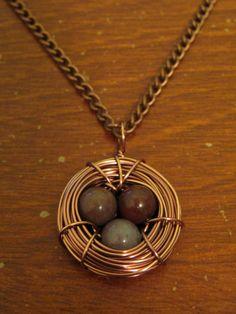 HANDMADE Copper Bird's Nest Necklace with Purple Eggs ($15)