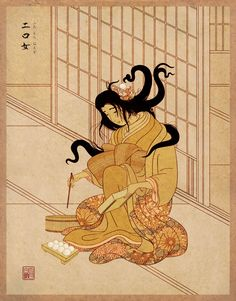 """Futakuchi Onna -  (二口女?, lit. """"two-mouthed woman"""") is a type of yōkai or Japanese monster. They are characterized by their two mouths – a normal one located on her face and second one on the back of the head beneath the hair. There, the woman's skull splits apart, forming lips, teeth and a tongue, creating an entirely functional second mouth."""