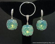 Wedding Bridal Jewelry Bridesmaid Jewelry Pacific Opal Swarovski Crystal Square Drop Jewelry Set Necklace & Earrings Set Mint Blue Green Set