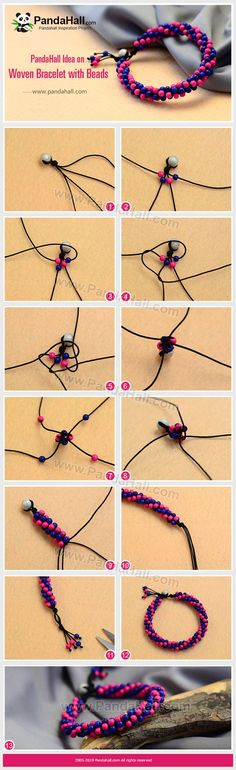 Woven Bracelet with Beads - This tutorial teaches you to make turquoise beaded bracelets. We used a nylon thread to string these beads. Friendship Bracelets Tutorial, Friendship Bracelet Patterns, Bracelet Tutorial, Bead Jewellery, Wire Jewelry, Jewelry Crafts, Handmade Jewelry, Jewelry Making Tutorials, Beading Tutorials