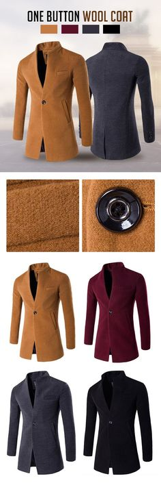 Business: One Button Stand Collar Woolen Jacket #men #fashion #style