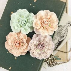NEW: Prima Flowers Venice - Forget Me 577247 (4pcs) Mint Peachy Khaki Shabby Chic Paper and Lace Rose Flowers