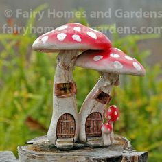 Fairy Homes and Gardens - Red Mushroom Fairy Condo with Pick, $13.65 (https://www.fairyhomesandgardens.com/red-mushroom-fairy-condo-with-pick/)
