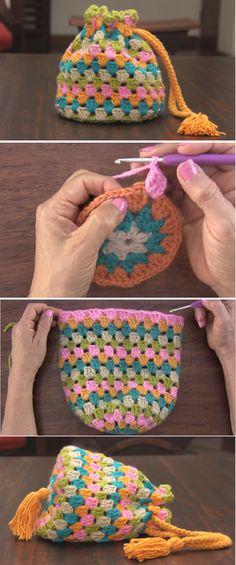 Crochet Round Granny Handbag