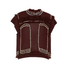 Isabel Marant Cauri Pan Top In Rust ($3,095) ❤ liked on Polyvore featuring tops, isabel marant, rust, cap sleeve top, fringe top, red top and isabel marant top