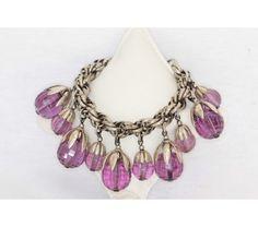 Napier Purple Lucite Charm Bracelet