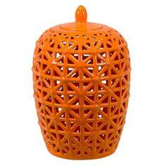 COCOCOZY: Orange Lattice Jar- Tangerine glaze makes it modern while shape and lattice design read as international. Navy Blue Walls, Home Furnishing Stores, Coral, Orange You Glad, Ceramic Jars, Orange Crush, New Home Designs, Ginger Jars, Happy Colors