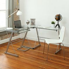 Corner Glass Desk Clear Home Office Silver Steel Frame Large Workstation Surface #WalkerEdison #Contemporary