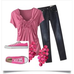 Made a Polyvore to experiment with. This is my first set, Pretty in Pink, created by lotus-wildflowers