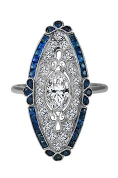 Engagement Ring -Art-Deco Oval Diamond Engagement Ring Blue Sapphire Halo in 14K White Gold-ES1342 Art-Deco Diamond/ Sapphire Ring