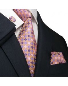 TheDapperTie - New Men's Multi-Color Checkered Silk Tie Set 48M