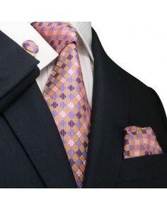 TheDapperTie - New Men's Multi-Color Checkered Silk Tie Set 48M