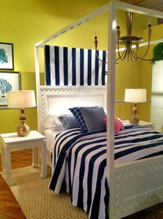 Oh my gosh can this just be where I sleep please?? I love the color in here.   High Point Highlights: A Colorful Lifestyle at Lilly Pulitzer Home High Point Market Fall 2012