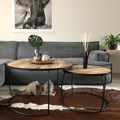 Couchtisch Set Jinx Mangoholz (2er Set) Living Room Table Sets, Dining Set, Home Living Room, Dining Table, Handmade Ottomans, Small Lounge, Coffee Stands, Coffee Set, Large Sofa
