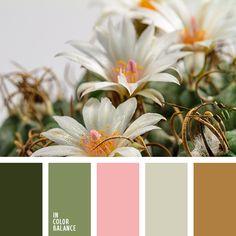 бежевый, болотно-коричневый, болотный, грязный зеленый, зеленый, золотой, коричневый, красный, пастельный розовый, розовый, салатовый, цвет вина, цвет зелени, шоколадный.