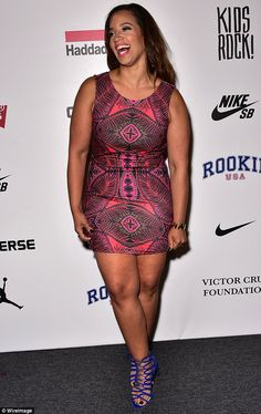 Dressed to impress: OITNB star Dascha Polanco wore a thigh-skimming graphic print number...