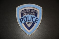 Fountain Valley Police Patch, Orange County, California (Vintage 1969-1997 Issue)