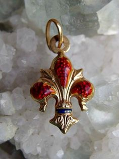Unoaerre 18k Gold and Enamel Fleur de Lis Pendant or Charm, Exquisitely Detailed Double Sided Puffy Charm, Fully Signed, Beautiful Condition by postGingerbread on Etsy