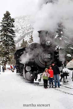 At the San Juan National Forest, Durango is often a winter wonderland, but in December, residents create a Christmas scene. Seasonal activities like sleigh rides and ice skating in an open rink in the heart of town, but the main attraction for Durango is an extended version of the Polar Express. #christmas #holidayideas #christmasideas #wintertodo #marthastewart Christmas Events, Christmas Town, Holiday Lights, Christmas Lights, Christmas Wonderland, Winter Wonderland, Snowy Weather, Durango Colorado, Visit Santa