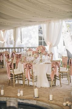 Photographer: SMS Photography; Elegant white tented gold and pink outdoor wedding reception;