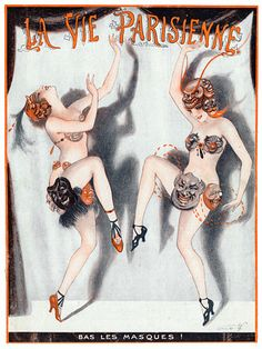 La Vie Parisienne - 'Bas Les Masques!' by Vald'Es. 1922    http://www.vintagevenus.com.au/vintage/reprints/info/MISC254.htm