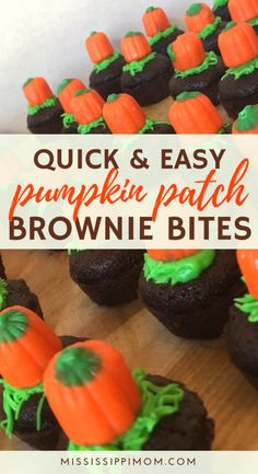 If you're looking for a quick and easy but really cute treat for your kids this fall, look no further! These Easy Pumpkin Patch Brownie Bites are just the thing to make kids smile. Fall Recipes, Holiday Recipes, Great Recipes, Holiday Foods, Drink Recipes, Two Bite Brownies, Brownie Bites, Halloween Brownies, Halloween Treats