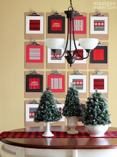 Festive holiday clipboard wall and mini flocked Christmas trees - madiganmade.com