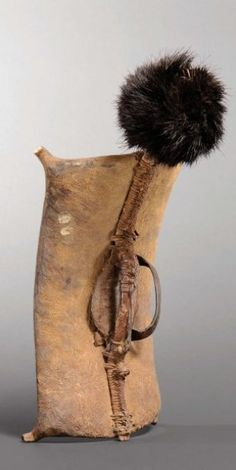 Africa | Shield from the Topsa people of Sudan | Leather and ostrich feathers