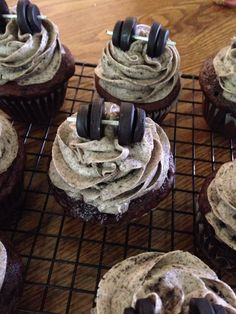 Cookies and cream dumbbell cupcakes.