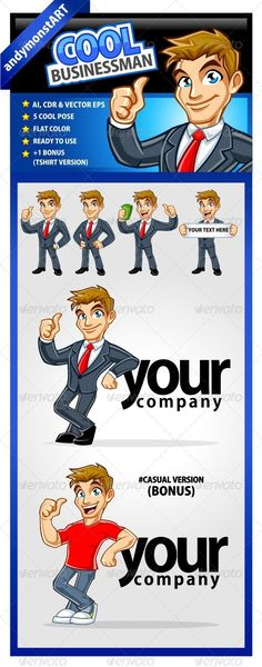 Cool Bussinesman — Vector EPS #character #money • Available here → https://graphicriver.net/item/cool-bussinesman/2931781?ref=pxcr