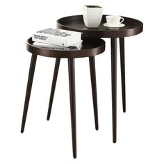 Target - Nesting Accent Tables $169.99  Nesting tables provide some flexibility in placement and round will be key in this tiny space between the two chairs. just enough room for a beverage!