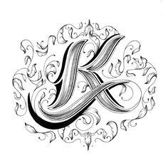 Letter k Love Letters - Hand Drawn Alphabet by Raul Alejandro Script Lettering, Lettering Styles, Graffiti Lettering, Calligraphy Letters, Typography Letters, Lettering Design, Typography Poster, Fancy Letters, Love Letters